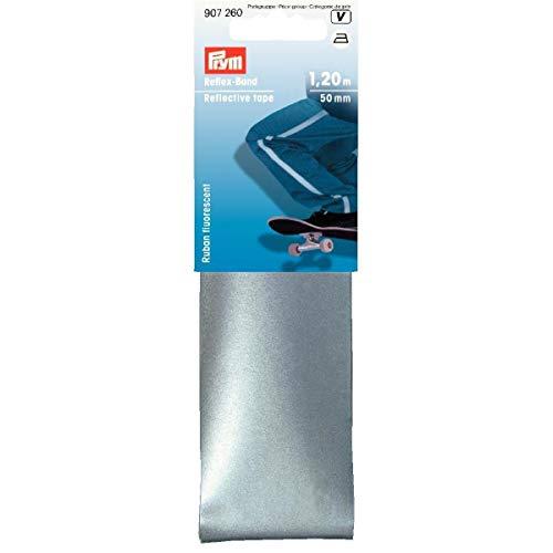 Prym Reflex-Band 50 mm aufbügelbar, 100% PUR, silberfarbig