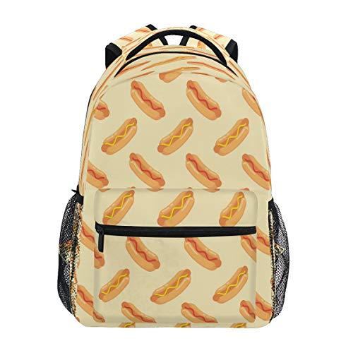 GIGIJY Rucksack, Motiv: Hot Dog mit Wurst, für Schule, Bücher, Reisen, Freizeit, Tagesrucksack für Kinder, Mädchen, Jungen, Herren, Damen