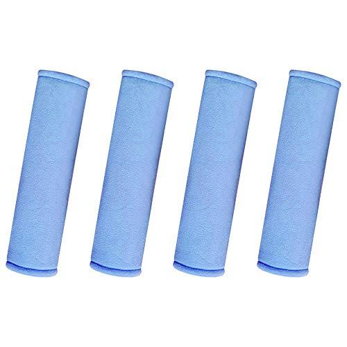 Kitchen-dream Almohadillas para el Cinturón de Seguridad del Asiento, 4 Piezas Almohadilla para el Hombro de La Correa del Cinturón de Seguridad del Automóvil para Adultos y Niños (Azul)