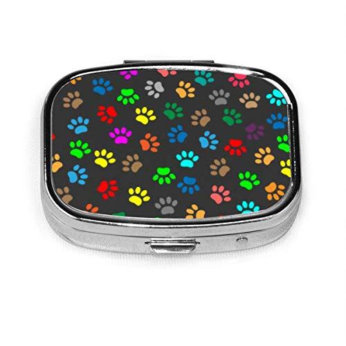 Farbe Tier Pfote Druck benutzerdefinierte Mode Silber quadratische Pille Box Medizin Tablettenhalter Brieftasche Organizer Fall für Tasche oder Geldbörse