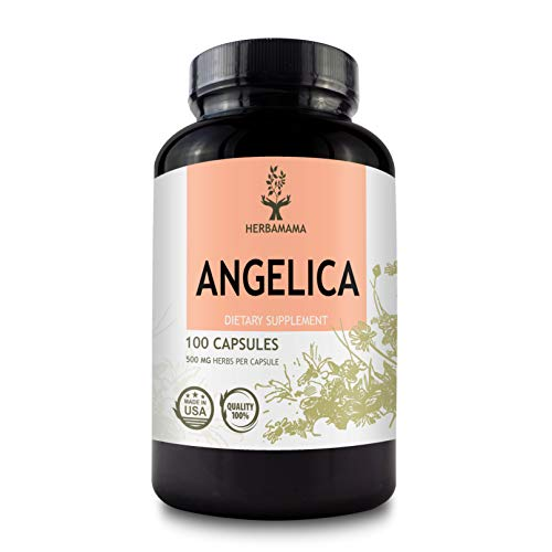 Angelica 100 Capsules 500 mg | Filled with Organic Angelica Root | Dong Quai | Promotes Digestion | Improves Mood | Relieves Menstrual Cramps | Non-GMO