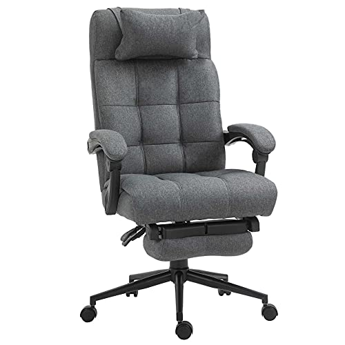 Vinsetto Executive Linen-Feel Fabric Office Chair High Back Swivel Task Chair with Adjustable Height Upholstered Retractable Footrest, Headrest and Padded Armrest, Dark Grey