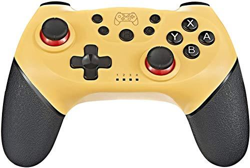 Tanouve Mando para Nintendo-Switch, Controlador Inalámbrico para Nintendo-Switch Pro/PC Gamepad Bluetooth Inalámbrico con Doble Choque Vibración Controlador (Amarillo)