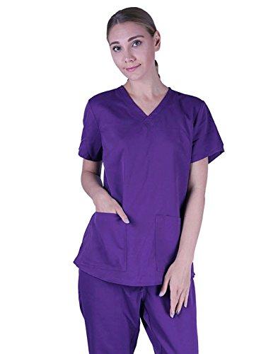 HDE Womens Scrub Top Medical Uniform V-Neck Shirt With Shirring Back (Purple, Small)