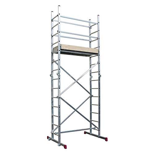 KRAUSE lid273Gerüst klappbar mit 3x 7Trittstufe, 3.35m/5m/4.85m/2.90m Höhe Stehleiter, 2,05m/4.20m/2.15m Höhe Stehleiter, 4.2m Länge, 1500mm x 520mm Plattform Durchmesser