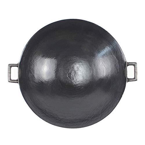 Szhwy Wok Traditionele Chinese binaurale wok ongecoate gietijzeren pot van gietijzer met een dikke ronde bodem 60 cm