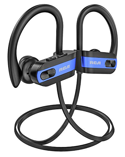 RCA Bluetooth headphones, IPX7 Waterproof Wireless Bluetooth 5.0 Earbuds with Mic, HiFi Stereo In-Ear Sports Earphones for Running Workout Gym,...