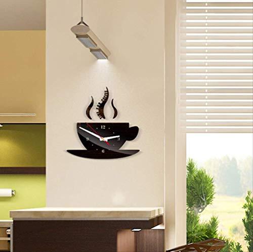 Muursticker 3D DIY Acryl Wandklok Moderne Keuken Thuis Decor Koffie Klok Beker Vorm Holle Numerieke Klok Spiegel 15 * 30Cm