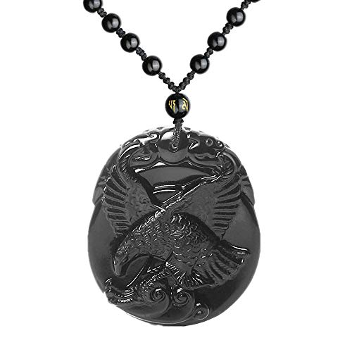 Natural Obsidian Eagle Necklace, Handmade Crystal Viking Celtic Bird Animal Gemstone Pendant with Extend Bead Chain, Flying Hawk Amulet Charm Jewelry Gifts