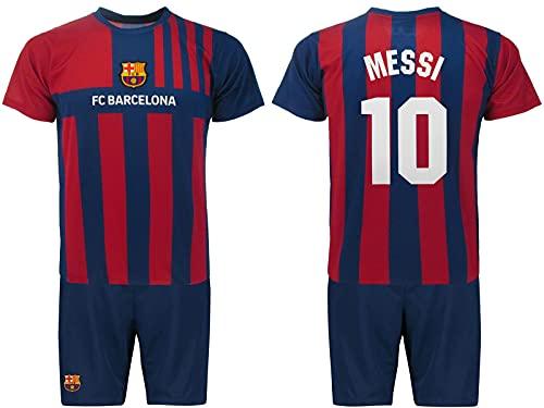 Conjunto oficial de camiseta y pantalones cortos Lionel Messi Número 10, temporada 2021 2022. Primera camiseta. Kit Blaugrana. Tallas para niño. Azul claro, 12 años