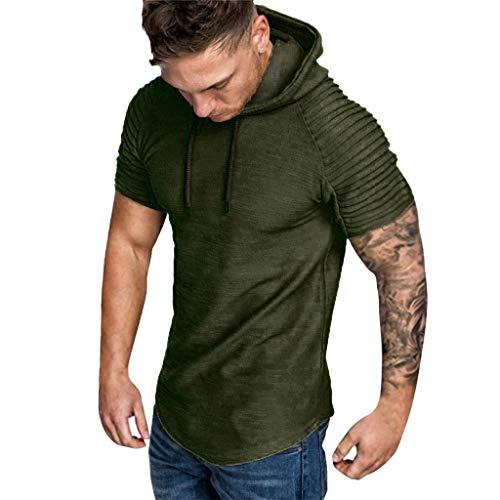 Preisvergleich Produktbild SUCES t-Shirt Herren Slim fit Sweatshirt Crew Neck Basic T-Shirt Herbst und Winterfalten der Art und Weisemänner schlanken passende Raglan Kurzarm Hoodie Spitzenbluse Kapuzenpullover