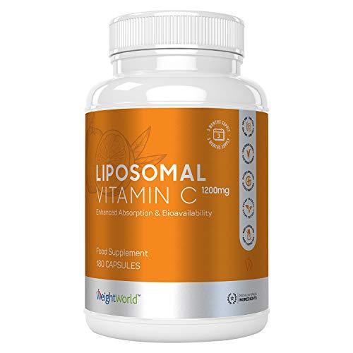 CAPSULES DE VITAMINE C LIPOSOMALE - 1200mg - Complément Alimentaire Vegan Naturel de Vitamine C Pure pour le Système Immunitaire, Vitamine C Naturelle en Gélules, Vitamine C Vegan - 180 Gélules