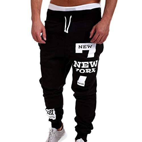 KPILP Herren Männer Chino Stoffhose Jeans Lange Hose Mode Freizeithose Jeanshosen Beiläufig Hose Jogginghose (Schwarz,XL)