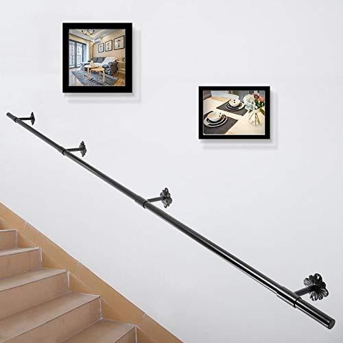 VEVOR Handläufe für Außentreppen Schmiedeeisenhandlauf 300 CM Eingangsgeländer formschön schwarz Treppengeländer Edelstahl Handlauf Geländer