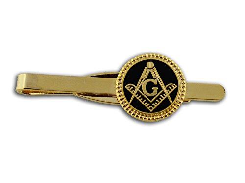 Masonic Lodge Regalia - Masonic Tie Bar / Tie Clip for Free Masons with black enamel weaved circle symbolism with Square and Compass Design (Masonic Symbol) (Black Weave Circle)
