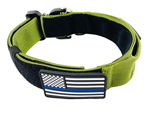 ZeusTacK9 Tactical Dog Collar Working K9 Or Pet - 1.5 Inch Wide Nylon Heavy Duty Collars Metal Buckle Quick Release D-Ring USA Flag Patch - Control Handle for Handling Training Dogs (MED, GRN)