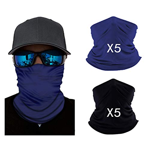 softan Bandana Face Mouth Covering Breathable Headbands Scarf Seamless Balaclavas for Hot Summer Outdoors, Black and Navy (10pcs)