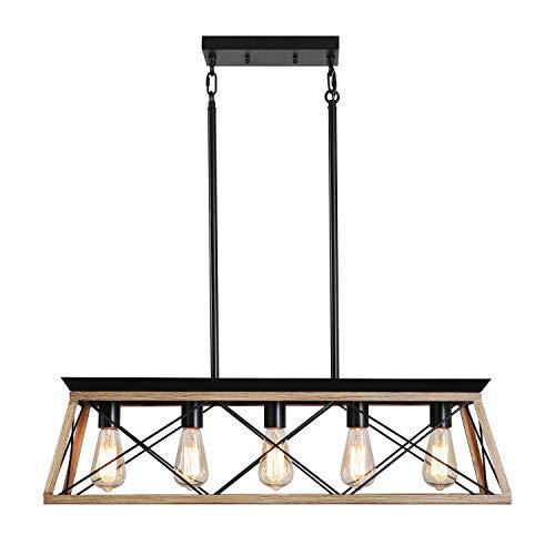 FANSHILAN Moderne Industriekronleuchter Kücheninsel Deckenleuchte 5-flammig rechteckiger Käfig rechteckiger Rahmen schwarzer Lampenschirm für Küche Esszimmer Restaurant Bar