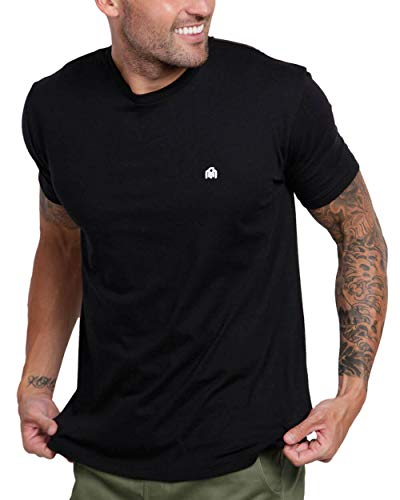 INTO THE AM Men's Fitted Crew Neck Basic Tees - Premium Modern Fit Short Sleeve Plain Logo T-Shirts for Men (Black, X-Large)