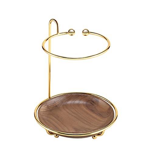 Serious Lamp Expositor Metálico para Joyas, Joyero de 2 Capas Maquillaje Estante Cosmético Pendientes Collar Anillo Pulsera Fondo Redondo de Madera