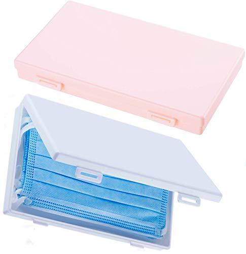 TEFIRE Portátiles Caja de Almacenamiento, Antipolvo Prevención Caja de Almacenamiento de Plástico (Rosa y Blanco)