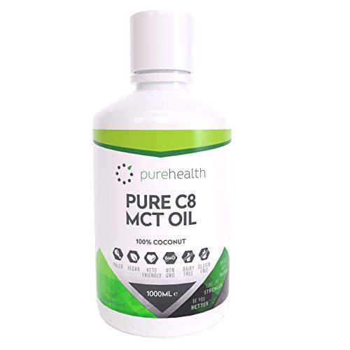 Olio 100% di cocco C8 MCT   99% Purezza   Acido Caprilico Puro C8   Paleo   Keto   Vegan   Senza Glutine   Bottiglia senza BPA (1000ml Cocco C8)