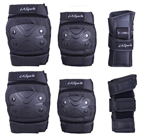 L.A. Sports 6teiliges Schützer Set mit Knieschützer Ellenbogenschützer und Hand-Protektoren Größe XL Jugendliche/Erwachsene