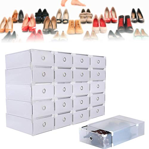 HanSemay, 20 scatole per Scarpe in plastica Trasparente, impilabili, Pieghevoli, 31 x 20 x 11 cm