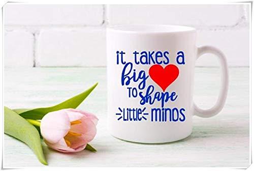 N\A Regalo para Maestros - Regalo de Fin de año Escolar - Taza de café - Regreso a la Escuela - Se Necesita un Gran corazón para Dar Forma a pequeñas Mentes, Taza de café de cerámica de 11 oz