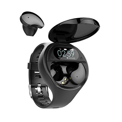 2 en 1 - Reloj inteligente con Bluetooth y auriculares inalámbricos con pulsera de seguimiento de fitness, correr, música, auriculares, frecuencia cardíaca, presión arterial y seguimiento de fitness