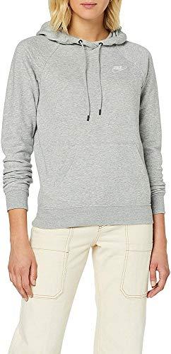 Nike W NSW Essntl Hoodie PO FLC Sweat-Shirt Femme DK Grey Heather/(White) FR: S (Taille Fabricant: S)