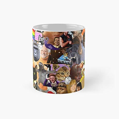 Meme Collage Classic Mug Birth-day Holi-day Gift Drink Home Kitchen