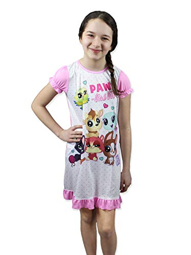 Littlest Pet Shop LPS Girl's Short Sleeve Nightgown Pajamas (4, White/Pink)