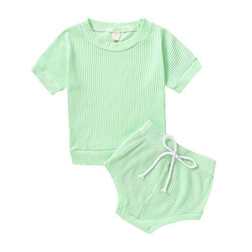Conjunto de 2 piezas de ropa para bebé recién nacido, de manga corta acanalada, camiseta + pantalones cortos