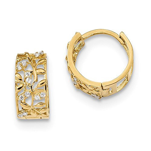 14k Yellow Gold Cubic Zirconia Cz Leaves Hinged Hoop Earrings Ear Hoops Set Fine Jewellery For Women Gifts For Her