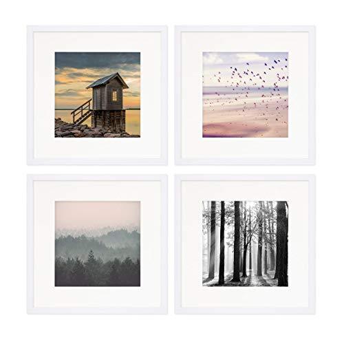 PHOTOLINI 4er Set Poster-Bilderrahmen 30x30 cm mit Passepartout 20x20 cm Modern Weiss aus MDF mit Acrylglas/Posterrahmen/Wechselrahmen