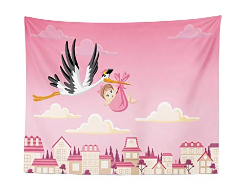 Elinna Baby Shower Tapestry, Stork Delivering A Baby Girl Newborn Cartoon Pink Shaded Sky Fairy Tale Design, Fabric Wall Hanging Decor for Bedroom Living Room Dorm, Pastel Pink 60x40in(100x150cm)