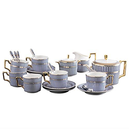 ErZhuiZi 15 Piezas Juego de Café de Porcelana Juegos de Tazas y Platos de Té Juego De Tazas de Café Servicio de Té Tetera Rayas Azules,Tazón de Azúcar, Jarra de Crema