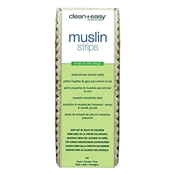 Clean + Easy Small Facial Muslin Wax Strips for Hair Removal Pre-Cut Durable Muslin Epilating Strips to Remove Unsightly Hairs from the Face - 1 3/4  X 4 1/2  100 count