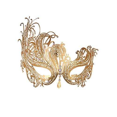 Masquerade Mask for Women Metal Mask Shiny Rhinestone Venetian Party Evening Prom Ball Mask Bar Costumes Accessory (Phoenix Gold)
