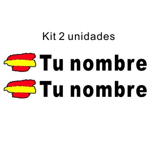 Pegatina vinilo bandera de españa + nombre personalizado, kit 2 unidades, para coche, moto, casco, monopatin, libreta