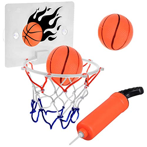 SEISSO Bathtub Basketball Hoop, Bedroom Bathroom Toilet Office Basketball Hoops for Toddler Kids Child Youth Boys Girls Party Game Sport with Ball Pump