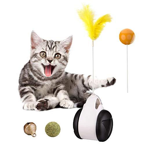 WANXIANG Giocattolo per gatti che può oscillare avanti e indietro Giocattoli interattivi con palline e piume Giocattolo per gatti da interno I giocattoli per gattini con erba gatta