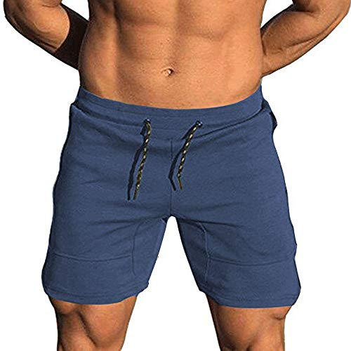 EVERWORTH Men's Solid Gym Workout Shorts Bodybuilding Running Fitted Training Jogging Short Pants with Zipper Pocke Navy S Tag L