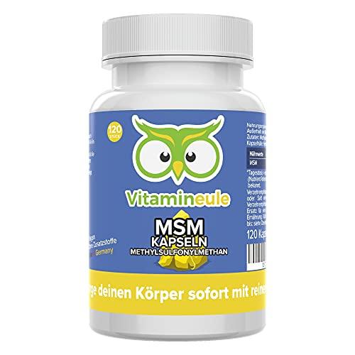 MSM Kapseln (organischer Schwefel) hochdosiert mit 600mg Methylsulfonylmethan - ohne künstliche Zusätze & vegan - Qualität aus Deutschland - Vitamineule®