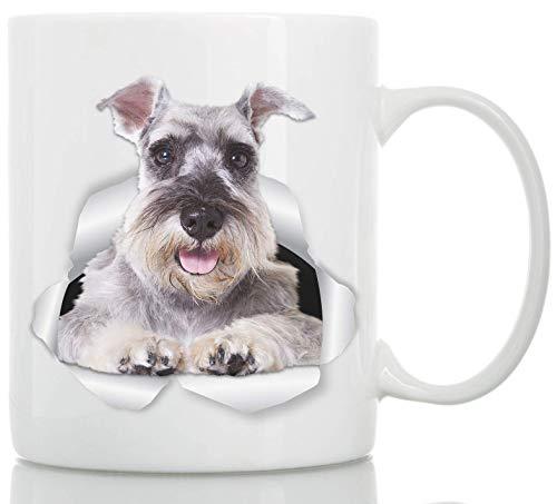 Taza de Perro Schnauzer Miniatura - Taza Schnauzer Gris de Cerámica para Cafe - Regalo Perfecto sobre Perro Schnauzer - Divertida y Bonita Taza de Café para Amantes de los Perros