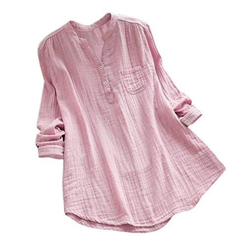 OverDose mujer Con Cuello En Cuello De Manga Larga De AlgodóN Casual SóLido TúNica Suelta Tops Camiseta Mujer Talla Grande (XXXXXL, Rosa)