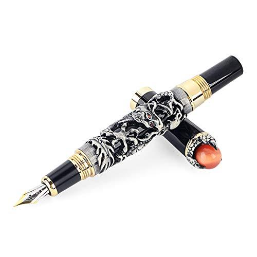 Füllfederhalter Luxus Eastern Dragon Fountain Ink Pen 0.5mm Weinlese-Marke Metall Gold Irautira Füllfederhalter Schule Büro Schreibpapiere (Color : Gray)