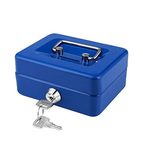 """Cash Box with Lock and Slot for Kids Small Cash Box with Money Tray Metal Piggy Bank Safe Box 4.9"""" x 3.7"""" x 2.4"""" Blue"""