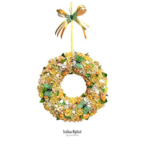 Blumenkranz Kranz dekoratives Blumenarrangement GRÜNE SCHMETTERLINGE; einzigartige Kreation. Blumendekoration, Haustür, Wandbild für Hochzeit, Geburtstagsfeier; Handgemacht